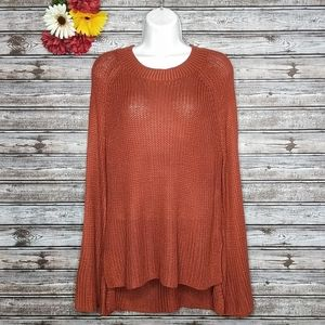 Pink Rose | Rust Bell Sleeve Crew Neck Sweater | L